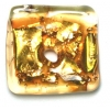 Glass Lamp Bead 18x20mm Square Gold